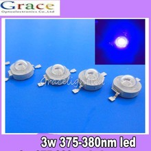 10pcs 3W UV ultraviolet 375-380nm high power LED 3watt purple Light(China)