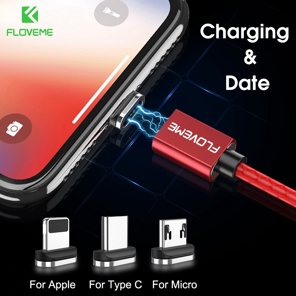 FLOVEME Magnetic Cable For iPhone X Xs Max 3A Fast Charger USB C Type C Micro USB Cable For Android Magnet Charging Data Cables