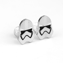Fashion jewellery Star Wars Male White Warrior Cufflinks French Men's Shirt Cuff Button Cool Pin Decoration For Party Wedding