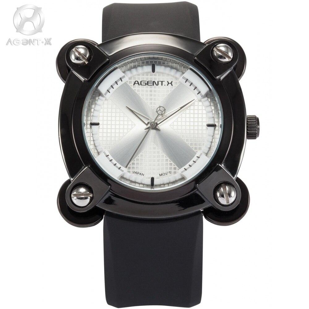 AGENTX Luxury Brand Relogio Masculino X Design Square Screw Analog Silicone Strap Kadin Kol Saat Men Sport Quartz Watch / AGX046<br>