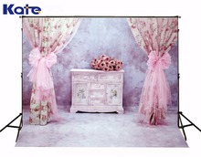 3M*6M(10*20 Ft) Kate Gorgeous Retro Photography Backdrop  Pink Curtain Flower Photography Backgrounds For Wedding Background