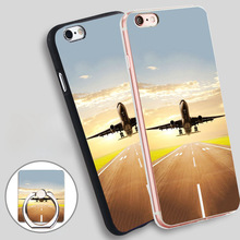 Airplane Takeoff Flight Clear Phone Ring Holder Soft TPU Silicon Case Cover for iPhone 4 4S 5C 5 SE 5S 6 6S 7 Plus