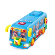 Kids Toys Vehicles Electronic School Bus Shaking Musical Education Toy Car Model With Flashing Lights Bump Baby Gifts(China)