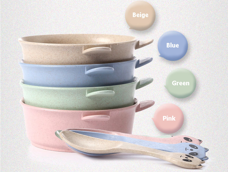 2 PcsSet Baby Feeding Food Tableware Panda Wheat Kid Dishes Eco-Friendly Children Training Dinnerware Plate Bowl Spoon BB5088 (2)