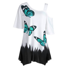 Buy Feitong Large Size Women Butterfly Printing T-Shirt Fashion Summer Short Sleeve Shoulder Casual Loose Tee Tops Woman Clothes for $4.09 in AliExpress store