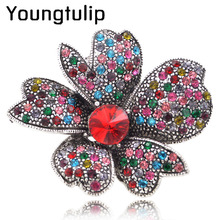 2pcs/lot Full Rhinestone Flower Brooches for Women Vintage Brooch and Pin Fashion Jewelry Unique Style Elegant Brooch Good Gift