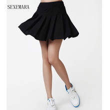 SEXEMARA tennis skirts skorts with panties dress women girl badminton skirt ladies tennis sport skirts solid color plus size