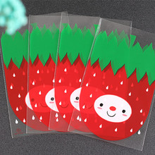 XUNZHE 12*20c 100pcs/Set Plastic Transparent strawberry Candy Cookie Gift Bag Pouch Wedding Birthday celebration Party Wholesale