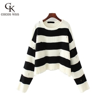2017 Loose Big Size Black And White Womens Sweater Pullovers Common Western Style O-neck Striped Hollow Lady Casual Sweater(China)