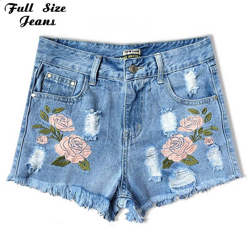 Flower embroidery Short jeans female 4XL 5XL 2XL Light blue casual Denim Shorts 2017 Summer Pockets straight jeans women bottomОдежда и ак�е��уары<br><br><br>Aliexpress