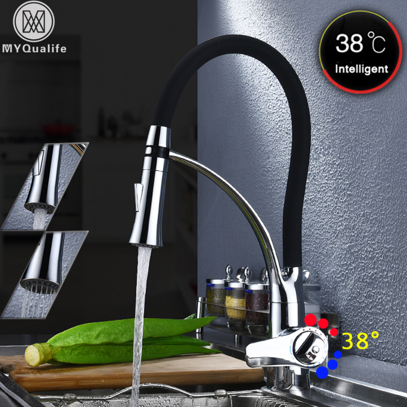 Thermostatic Kitchen Faucet Pull Sprayer 360 Rotation Bathroom Kitchen Mixer Brass Black Rubber Hot Cold Faucets