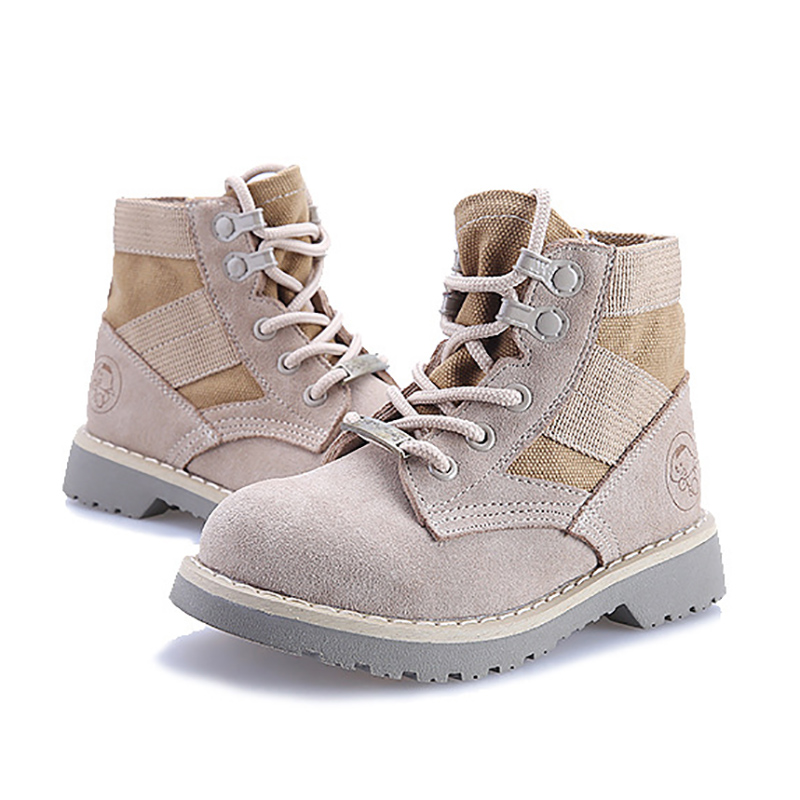 DapChild Kids Boots Genuine Leather Brand Martin Boots Girls Boys Winter Footwear Childrens Desert Boots Russia Boys Shoes <br>