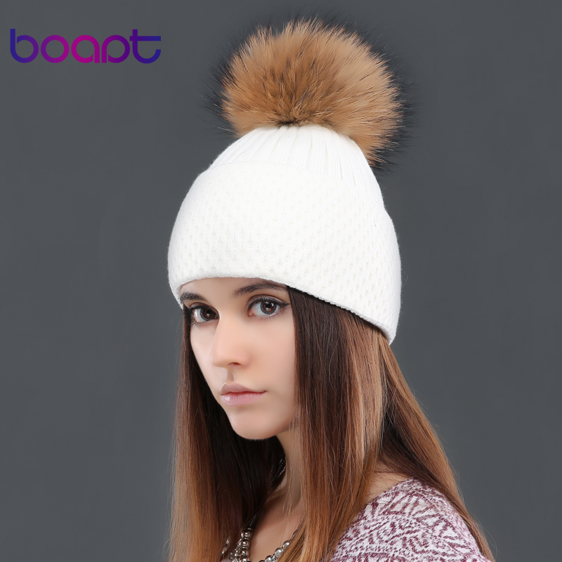 BOAPT soft cashmere knited cap natural genuine real raccoon fur pom pom womens hats winter caps female hat skullies beaniesОдежда и ак�е��уары<br><br><br>Aliexpress