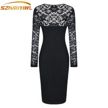 2017 spring fashion explosion models acrylic cotton V-neck long sleeves complex lace sexy perspective Slim pack hip pencil dress(China)