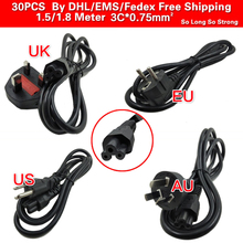 30PCS 1.5m 3Pin Power adapter Cord Cable for Printer Laptops Game Players Cameras 3Prong Laptop AC Lead 3Pin cable EU/US/AU/UK(China)