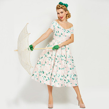 Buy Sisjuly Vintage 1950s Mid Calf Light Apricot Women Floral Print Dress Shoulder 2017 Summer Party Dress Retro Dresses for $17.04 in AliExpress store