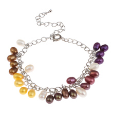 YYW New Natural Freshwater Cultured Pearl Bracelet 5-6mm Rice Colored Pearl Beaded Charm Bracelet Real Pearl Chain Bracelets