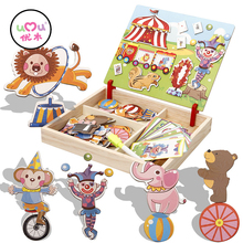 Wooden Puzzles For Children Circus Transport Multinational Magnetic Puzzle Drawing Board Educational Toys For Children UL0766H(China)