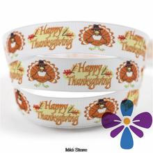 6-75mm Happy Thanksgiving Printed Grosgrain Ribbon DIY Handmade Hair Accessories HT01-PG025-01510(China)