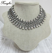 Hot sale gunmetal oval woven chains collar necklace 2014 multi rows crystal claw chains chokers necklace women vintage jewelry