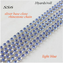 2017 New fashion 10 yards/lot  Silver Base light blue SS6(1.8-2.0mm) Crystal Rhinestone Cup Chain close rhinestone