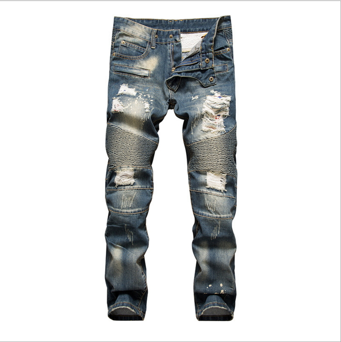 New Mens Jean Design Balm* Biker Jeans Slim Stretch Straight Denim Pants Jeans Ripped Elastic Skinny Motorcycle Men Jeans 550-2Îäåæäà è àêñåññóàðû<br><br>