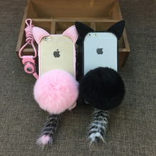 3D Cute Pussy Plush Cat Ear Tail Soft TPU+PC Case For HuaWei P9 P9 Lite P10 Plus With Furry Ball Back Cover Phone cover case