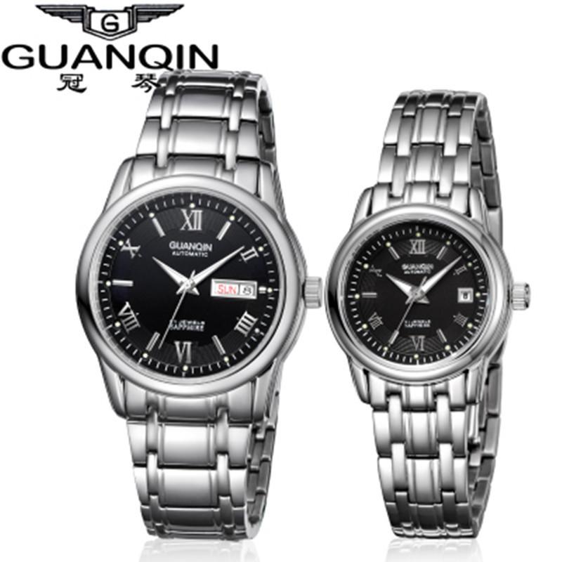 1 Pair GUANQIN Lovers Mechanical Watches Couple Automatic Watch Men Women Clock Auto Date Luminous Waterproof Brand Watch Men (2)
