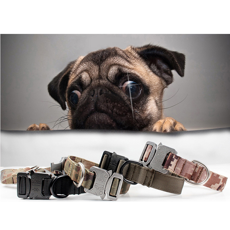 New Protective tactical Dog neck collars tatico metal buckle adjustable military training Nylon Big Dog Collar wolf brown/black<br>