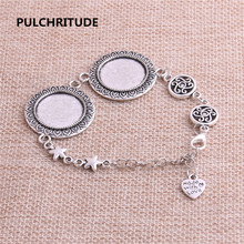 PULCHRITUDE 3pcs 22cm Alloy Antique Silver Chain Bracelet Hand Charm Round Cabochon base Setting Fit 20mm Dia Women Z0028