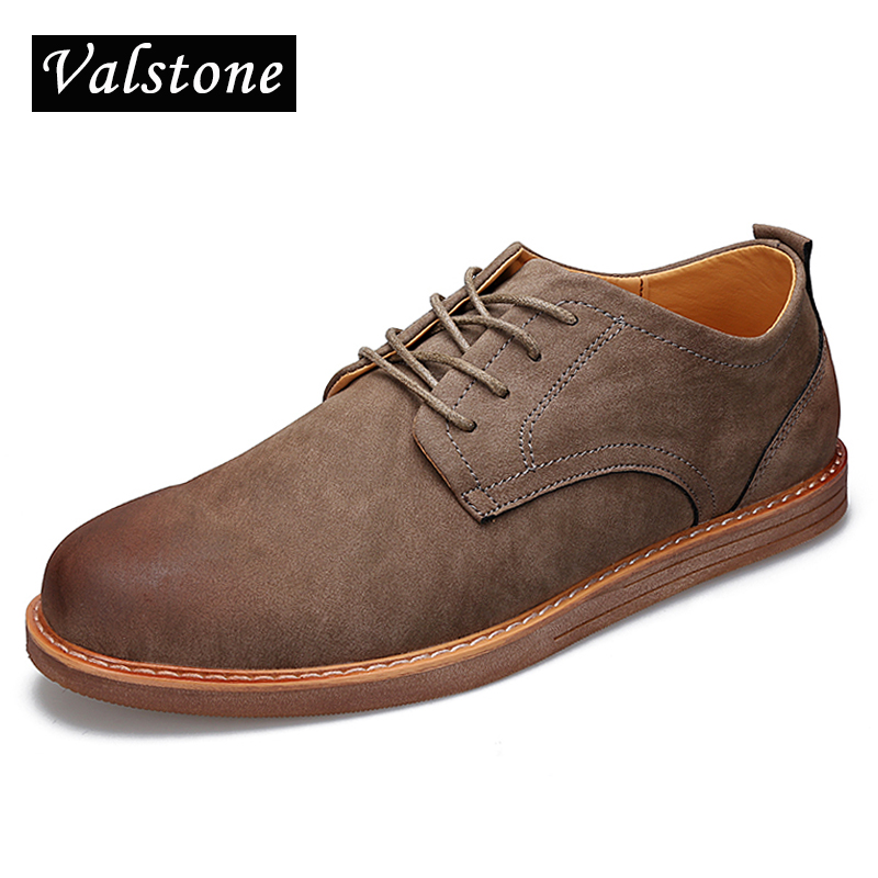 Valstone 2017 New Mens casual Leather shoes male British style soft moccasin flats simple gommino Autumn wild shoes men sizes<br>
