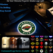 2pcs Minnesota Wild Logo Wireless Senor Car Door Welcome Ghost Shadow Spotlight Laser Projector Puddle LED Light
