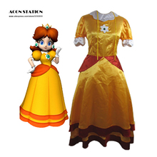 2016 Hot Selling Free Shipping Fashionable Adult Kid Super Mario Bros Daisy Cosplay Costume Dress For Halloween Christmas