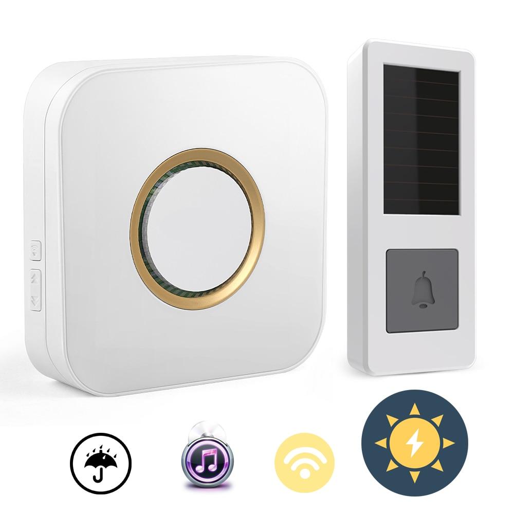 01CTVMAN Wireless Doorbell Solar Powered Push Wireless Doorbell Button Waterproof Outdoor Wifi Door Bell with 52 Tunes Chimes