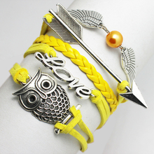 Vintage Fashion Infinity Love Owl Arrow Wing Hand Woven Yellow PU Braid Leather Charm Fake Pearl Bracelets & Bangles For Women