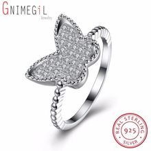 GNIMEGIL New Collection Genuine 100% 925 Silver Wedding Butterfly Design Finger Rings for Women Fahion S925 Jewelry Gifts(China)