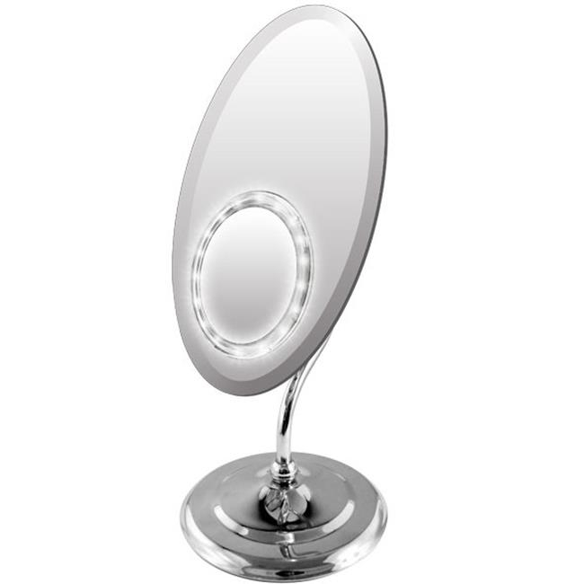 Rucci M961 Ellipse Chrome Mirror with Led Lighted Suction