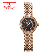 Lady Women's Watch Fine Fashion Mother of Pearl Jewelry Hours Stainless Steel Bracelet Rhinestone Girl Gift Royal Crown Box