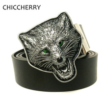 Men's Cool PU Leather Belt with Wolf Head Metal Big Belt Buckles For Men Jeans Western Cowboy Cinto Masculino Cinturones Hombre(China)
