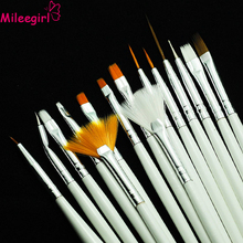 Mileegirl Nail Art Brushes Set,15pcs White Decorations Gel Painting Pen Nail Brush, Professional Nail Equipment Drawing Tool