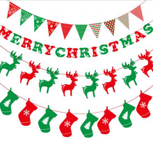 New Arrival 3M christmas paper Flags Bunting Banner artificial party Garland christmas ornaments supplier party decoration(China)