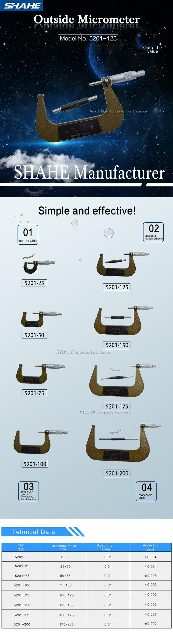 SHAHE 100-125mm 0.01mm Outside Micrometer Micrometro Gauge Hardened Alloy