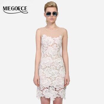 Miegofce 2016 dress nueva llegada del verano de encaje sin mangas de las mujeres de moda de estilo europeo sexy ropa