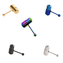 free shipping  titanium plated colors vibrating surgical Stainless Steel tongue piercing ring