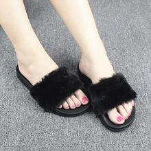 Women Slippers Flock Fashion Spring Summer Autumn Home Plush Slippers Women Faux Fur Slides Flip Flops Flat Shoes Size 36-41