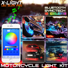 X-LIGHT Smart Phone Bluetooth App control 18 Pod Motorcycle Music Bluetooth Control 108 LED Neon Accent Glow Light Kit RGB