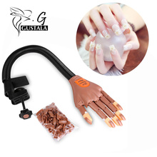 Gustala 1 Hand+100 Tips Nail Trainer Tool Adjustable Model Hand Practice DIY Nail Training Manicure Tool Nail New Art Equipment