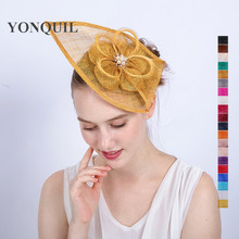21Colors select sinamay teardrop hair fascinator hats Gold fascinator headpiece women headband kentucky derby royal hats SYF153(China)