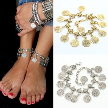 LNRRABC 2016 Fashion Women Beach Bohemian Boho Tassels Antique men jewelry Bronze Coins Anklet Barefoot Chain Foot Sandals