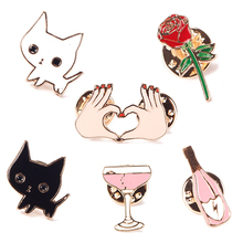1Pc Creative Cute Cartoons Cat Wine Cocktail Rose Flower Heart Hand Badge Corsage Collar Metal Brooch Pins #94035(China)